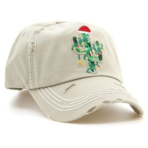 Decorated Cactus Christmas Baseball Hat Cap Beige